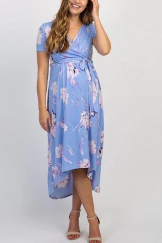 Maternity V Neck Short Sleeve Printed Dress