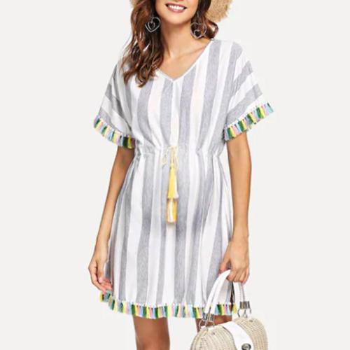 Maternity V-Neck Stripe Tassel Loose Casual Above Dress