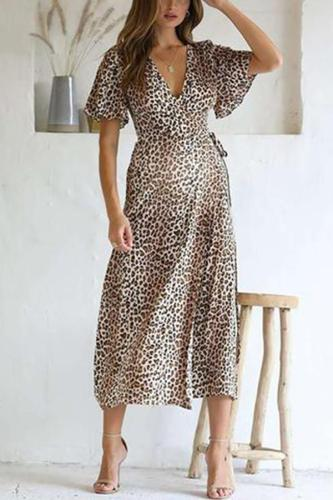 Maternity Printed V-Neck Lace-Up Dress