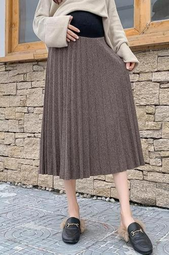 Marternity casual pure color loose skirt