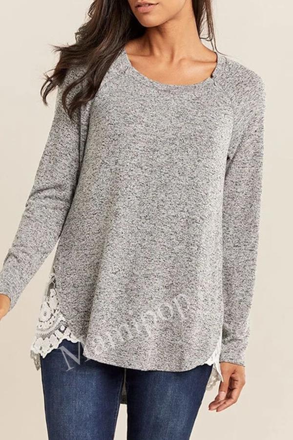 Lactation Pregnant Women Long Sleeve Solid Color Lace Zipper Top