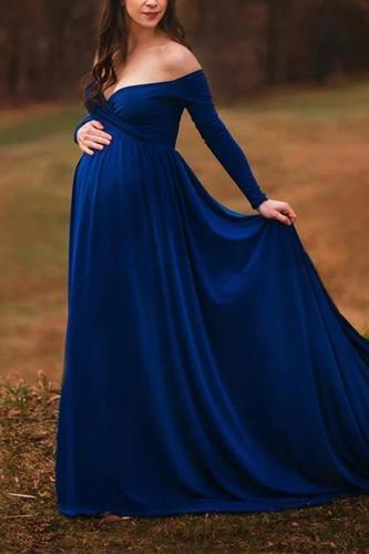 Maternity Casual Pure Colour Off-Shoulder Dress