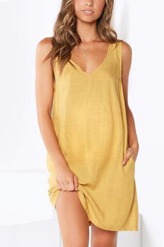 Maternity V-Neck Solid Color Dress