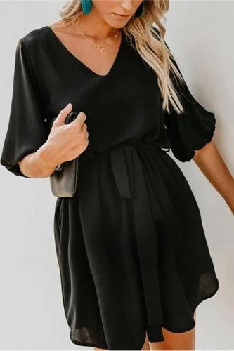 Maternity V-Neck Lantern Sleeve Belt Tie Pocket Dress