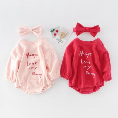 2020 Baby Letter Embroidered Long-sleeved khaki Jumpsuit