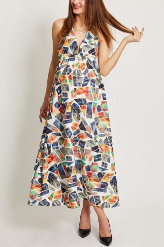 Maternity Floral Print Sleeveless Vacation Maxi Dress