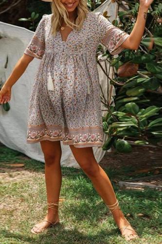 Maternity Loose Deep V-neck Short Sleeve Floral Print Dress