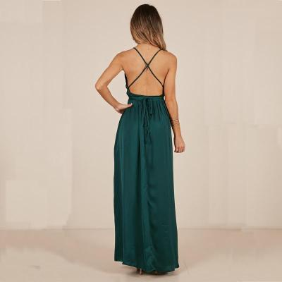 Maternity Deep V-Neck Solid Color Evening Dress