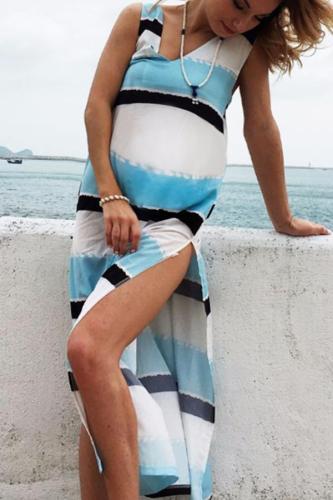 Maternity Stripe Beach Vest Maxi Dress