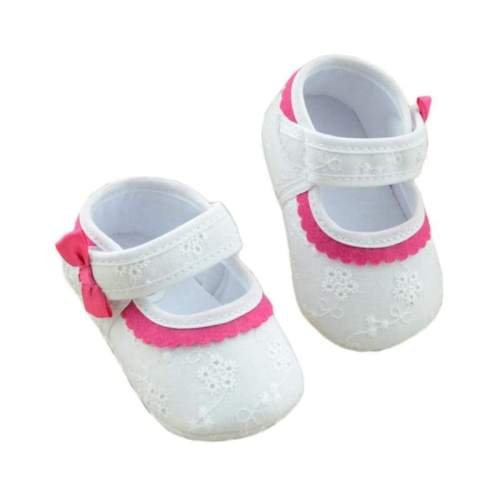 Baby Shoes Embroidered Flower Soft Bottom - White/Pink
