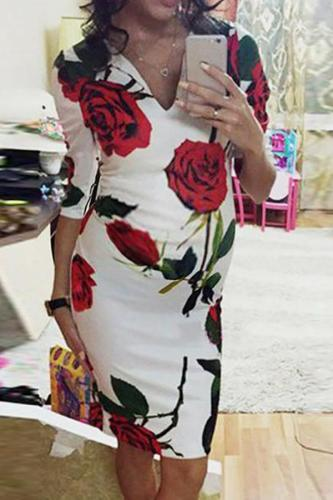 Maternity Sexy Floral Printed Dress