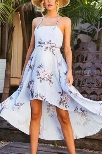 Maternity Sexy Open Shoulder Print Irregular Sling Dress