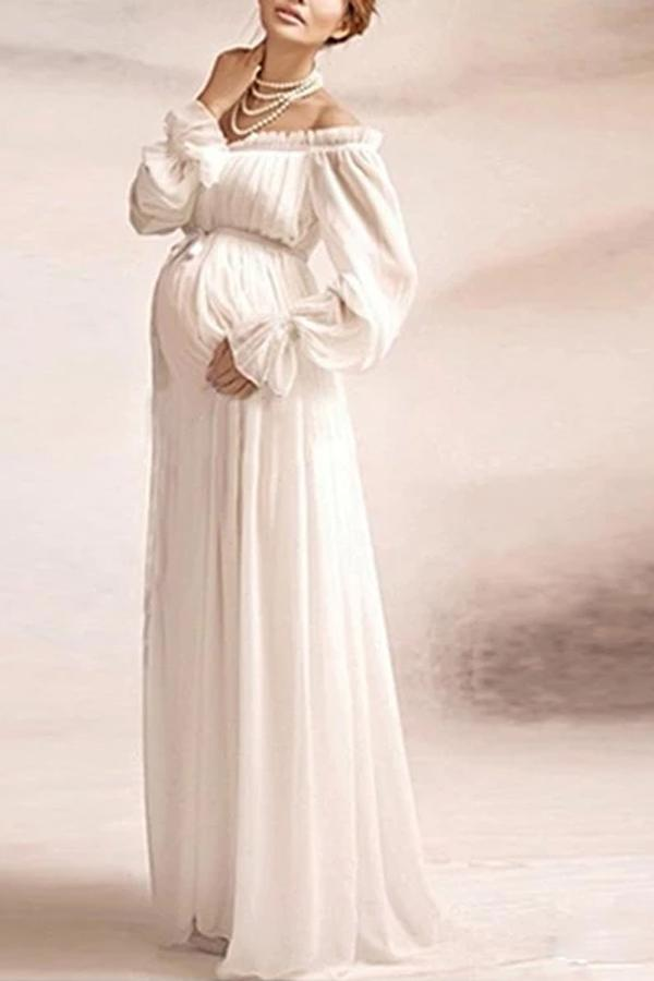 Maternity Off Shoulder Lace Long Sleeve White Dress