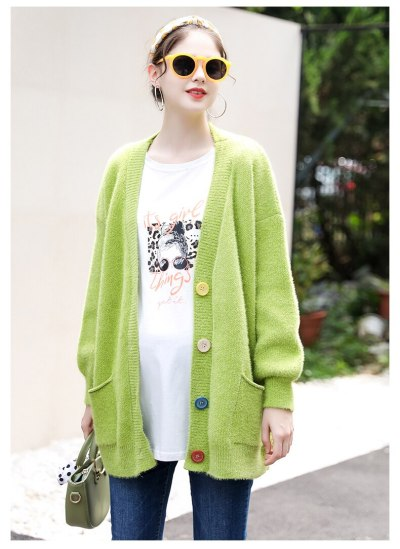 Pregnant Women Sweater Autumn and Winter Knit  Cardigans