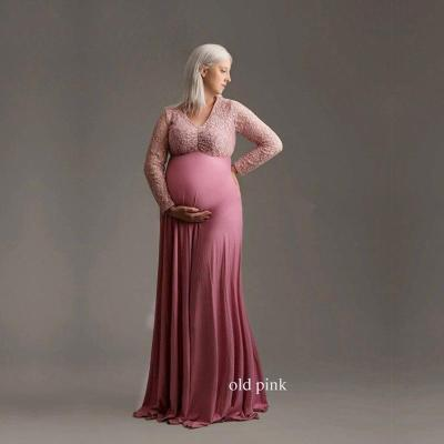 Pregnant Woman Cotton Dress Taking Pictures  Lace Long Skirt