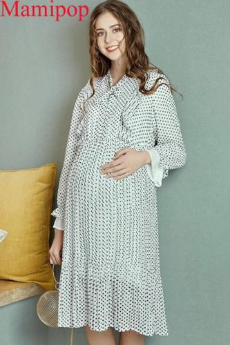 Fashion Pregnancy Winter Autumn Polyester Chiffon Dot Pleated Dress
