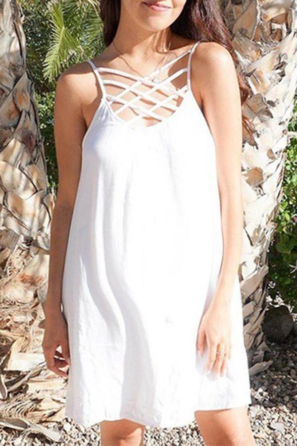 Maternity Plain Spaghetti Strap Backless Casual Dress