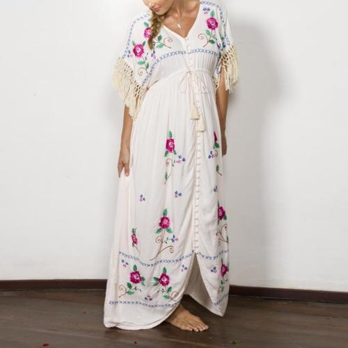 Maternity Bohemian V-Neck Fringed Embroidered Dress