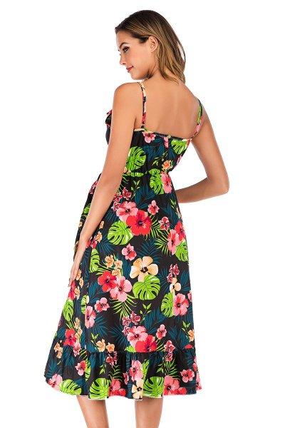 Lotus-side ink deep V sling loose irregular print loose pregnant dress