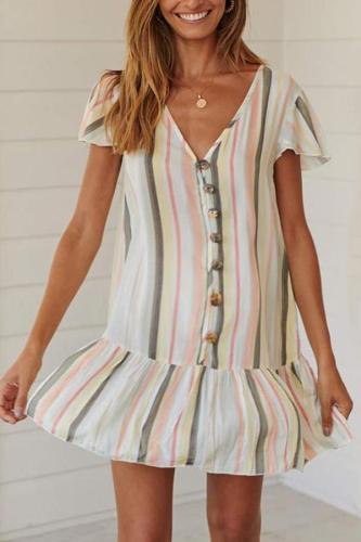 Maternity Casual Striped V-Neck Dress