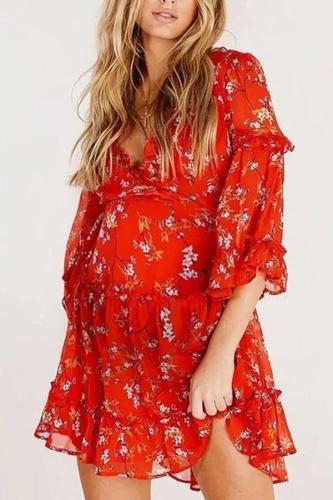 Maternity Dress Deep V-neck Fashion Floral Ruffle Dress