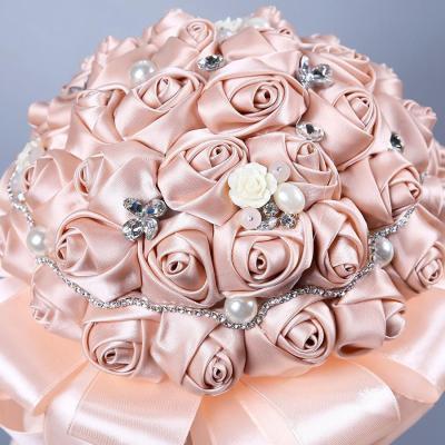 Rose Peony Flower Bride Bouquet Pink Hydrangea Pompom Bud Vanilla Spike Wedding Supplies