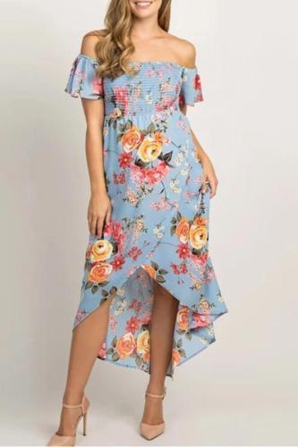 Floral Print Off Shoulder Short Sleeve Sundress Bohemian Pregnancy Dress