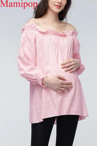 Pregnant Women Cotton Off Shoulder Long Sleeve Casual Loose Ruffles Blouse