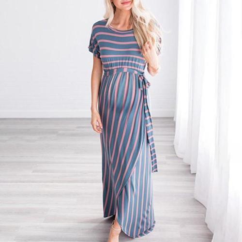 Maternity O-Neck Short Sleeve Stripe Maxi Dress