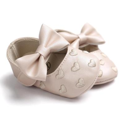Baby Girl Bowknot PU Leater Shoes Sneaker Anti-slip  Soft Sole Sneakers First Walker