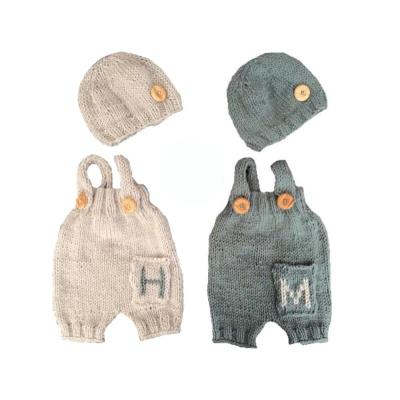 Newborn photography props 2 color hand-woven baby sling pants with cap 2020