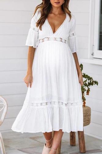 Maternity Deep V-Neck Flare Sleeve Midi Dress