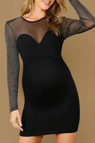 Maternity Mesh Splicing Long Sleeve Slim Fit Dress