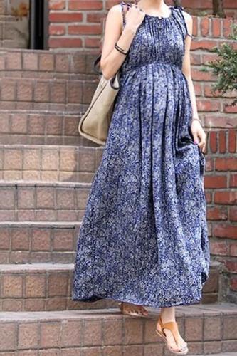 Maternity Sleeveless Floral Wavy Maxi Dress