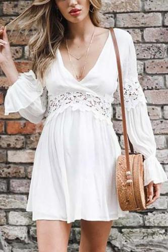 Maternity V Collar Lace Splice Hollowed Out Long Sleeved Dress