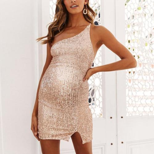 Maternity Sexy Sequin One Shoulder Dress