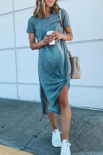 Maternity Casual Pure Color Short Sleeve Side Slit Dress