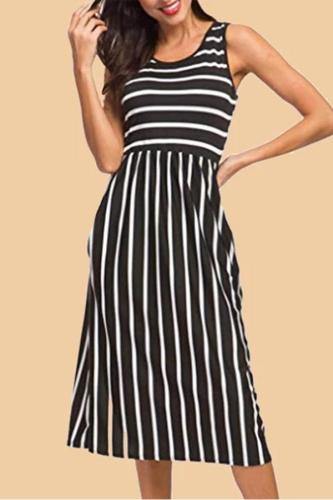 Maternity O-Neck Stripe Patchwork Casual Dress