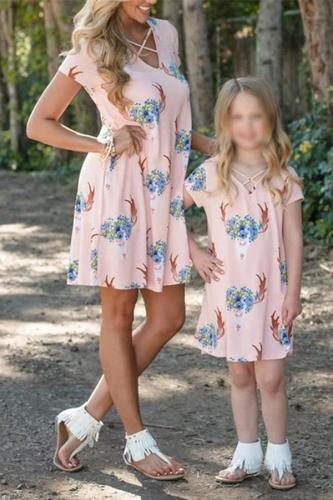Mom Girl Short Sleeve Print Matching Dress