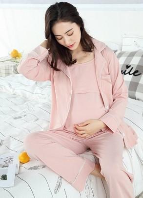 3Pcs Coat + pant + t shirt Women Maternity Pajama