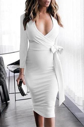 Maternity V-Neck Side Bow Knee-Length Elegant Dress