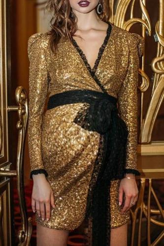 Maternity Elegant Golden V-Neck Evening Dress