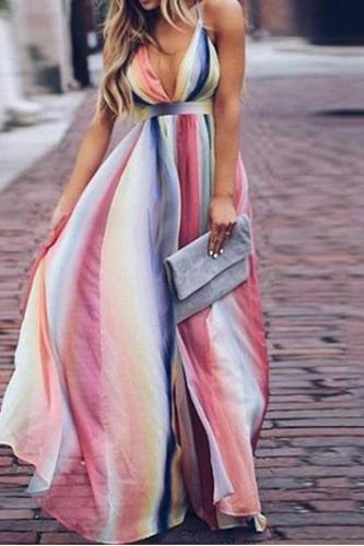 Color Deep V High Waist Maxi Rainbow Dress