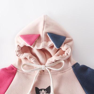 Fall / winter 2020 boys and girls color contrast cat Print Long Sleeve hooded Jumpsuit creeper baby romper Plush