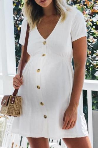 Maternity Casual V-Neck Single-Breasted Short Sleeve Dress