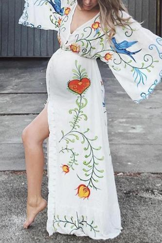 Fashion embroidered maternity dress