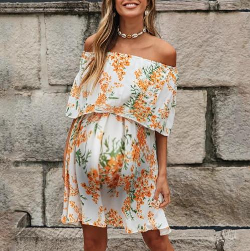 Maternity Boat Neck Printed Color Dress