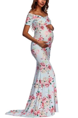 Floral Off Shoulder Maternity Maxi Dress