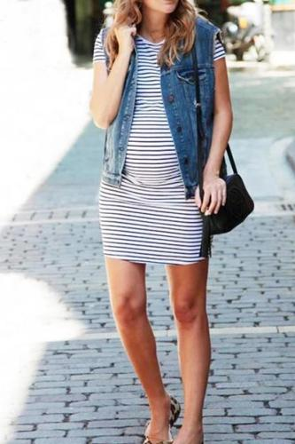 Stripes Fitted Maternity Dress