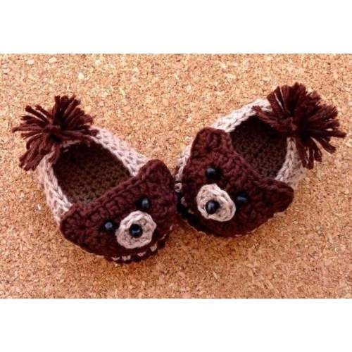 Handmade Crochet Bear Baby Shoes